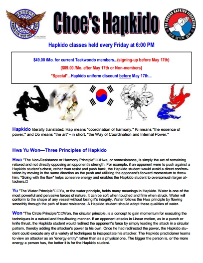 Choe's Hapkido Classes Flyer at Choe's Quality Martial Arts TAEKWONDO Milford, MA 01757